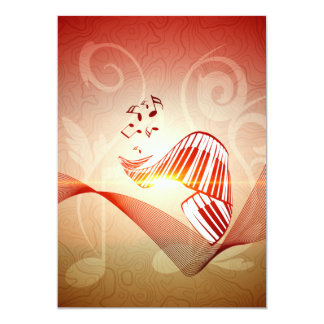 Music, curved piano keyboard with key notes 13 cm x 18 cm invitation card