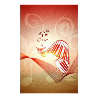 Music, curved piano keyboard with key notes personalised stationery
