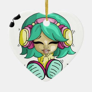 Music cutie ceramic heart decoration