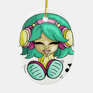 Music cutie ceramic oval decoration
