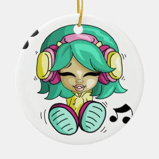 Music cutie round ceramic decoration