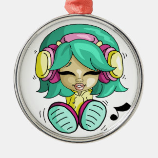 Music cutie Silver-Colored round decoration