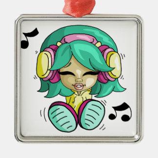 Music cutie Silver-Colored square decoration