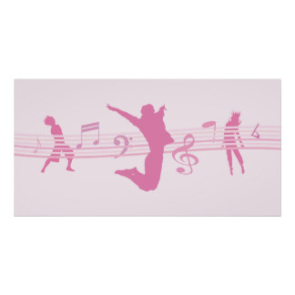 Music Dance and Drama pink Poster