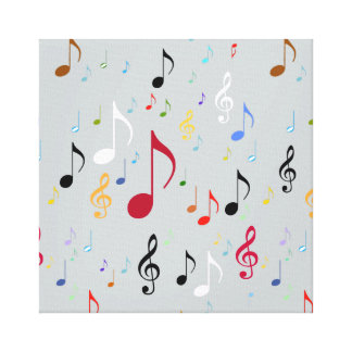 music decor/colorful musical notes gallery wrapped canvas
