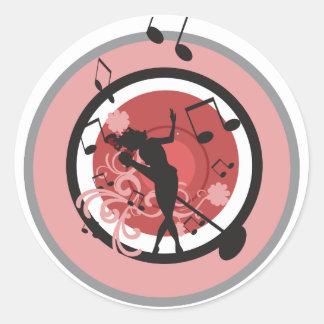 music diva vector classic round sticker