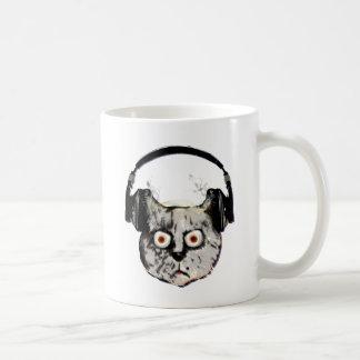 music dj cat with headphone coffee mug
