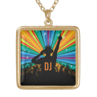 Music DJ custom monogram necklace