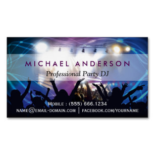 Dj business cards zazzle uk music dj party concert planner modern stylish magnetic business card reheart Gallery