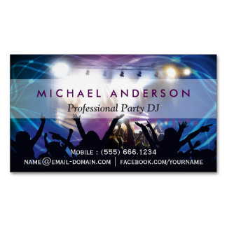 Music DJ Party Concert Planner - Modern Stylish Magnetic Business Cards