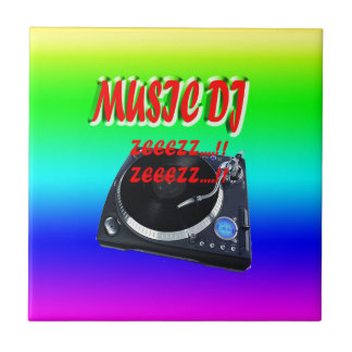 Music Dj With Background Small Square Tile