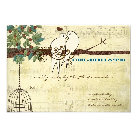 Music Dove Lovebird Sitting In a Tree Wedding RSVP Card
