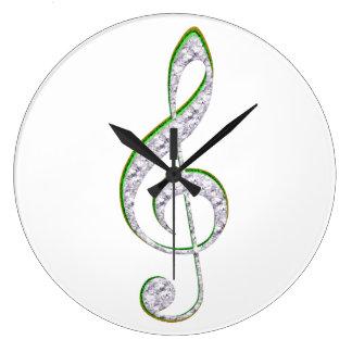 MUSIC Emerald and Diamond Treble Clef Clocks