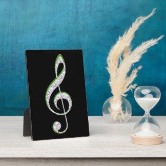 MUSIC Emerald and Diamond Treble Clef Display Plaques