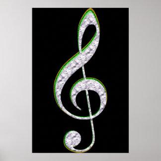MUSIC Emerald and Diamond Treble Clef Poster