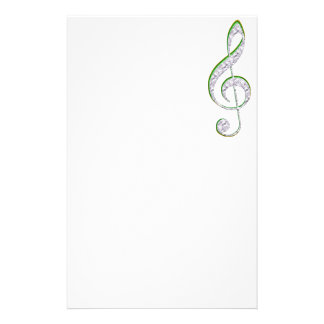 MUSIC Emerald and Diamond Treble Clef Stationery Paper