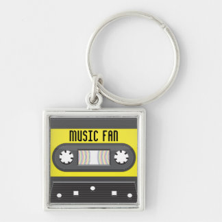 Music fan cassette with rainbow tape keychain
