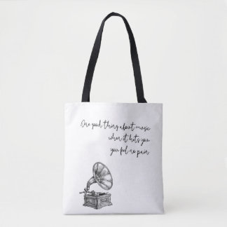 Music feels no pain tote bag