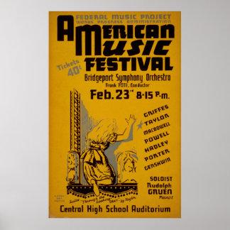 Music Festival America 1938 WPA Vintage Poster