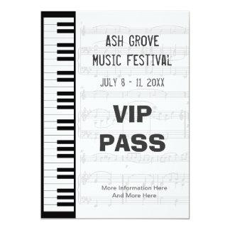 Music Festival Pass Piano Keyboard Theme Template 13 Cm X 18 Cm Invitation Card