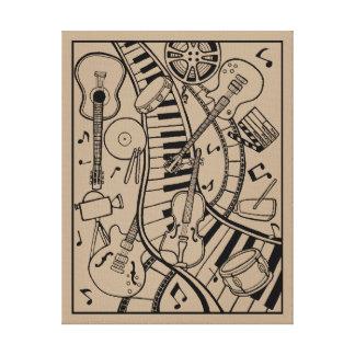 Music Film Line Art Design By Suzy Joyner Canvas Print