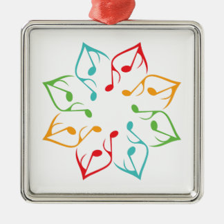 Music Flower Silver-Colored Square Decoration