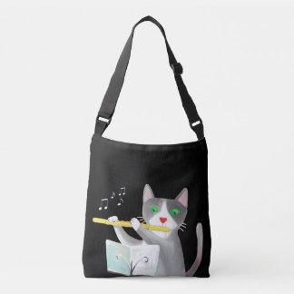 music flutist cat art bag