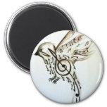 Music flys 6 cm round magnet