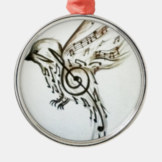 Music flys Silver-Colored round decoration