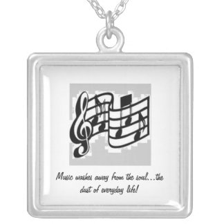 Music for the soul silver plated necklace