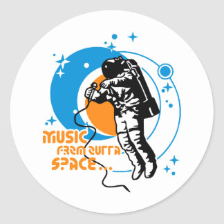 Music from outta Space Classic Round Sticker