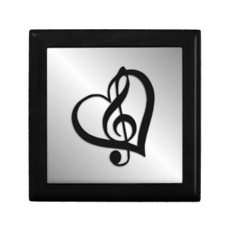 Music G Heart on Silver Small Square Gift Box