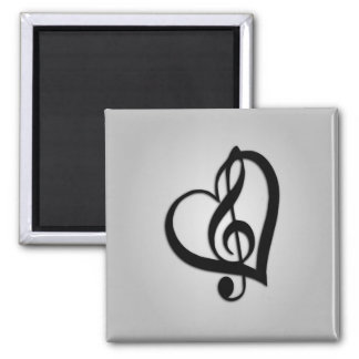 Music G Heart on Silver Square Magnet