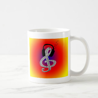 Music Gclef with headset Classic White Coffee Mug