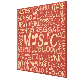 Music Genres Word Collage canvas print