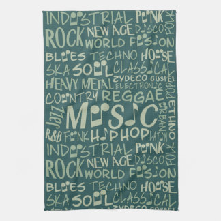 Music Genres Word Collage hand towel