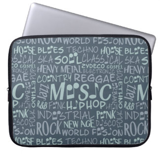 Music Genres Word Collage laptop sleeves