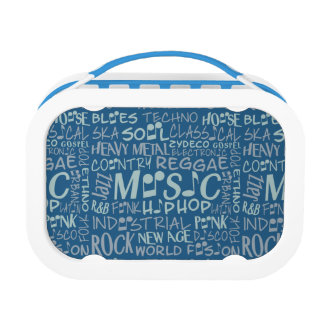 Music Genres Word Collage lunch boxes