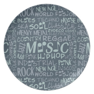 Music Genres Word Collage melamine plate
