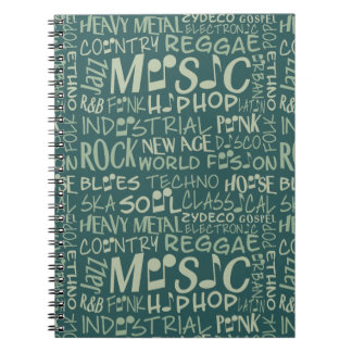 Music Genres Word Collage notebook