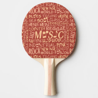 Music Genres Word Collage ping pong paddle