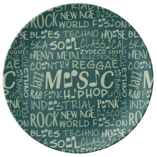 Music Genres Word Collage porcelain plate