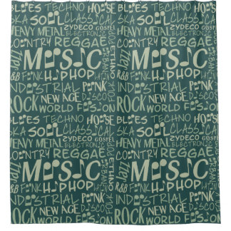 Music Genres Word Collage shower curtain