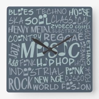 Music Genres Word Collage wall clock
