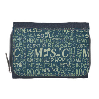 Music Genres Word Collage wallets