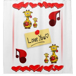 music giraffe white childrens showercurtain shower curtain