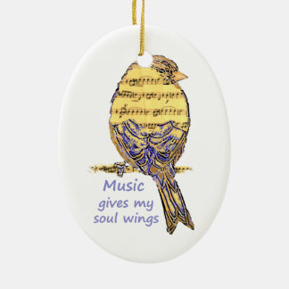Music Gives my Soul Wings Quote & Bird Art Christmas Ornament