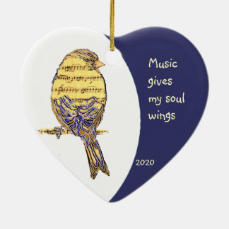 Music  gives my soul wings Quote Music Note Bird Christmas Ornament