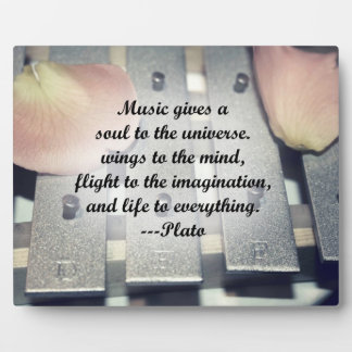 Music gives soul bells rose design plaque