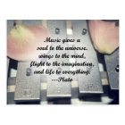 Music gives soul bells rose design postcard